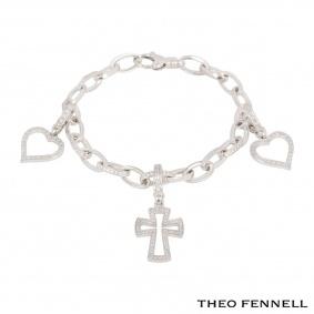 Theo Fennell White Gold Diamond Charm Bracelet